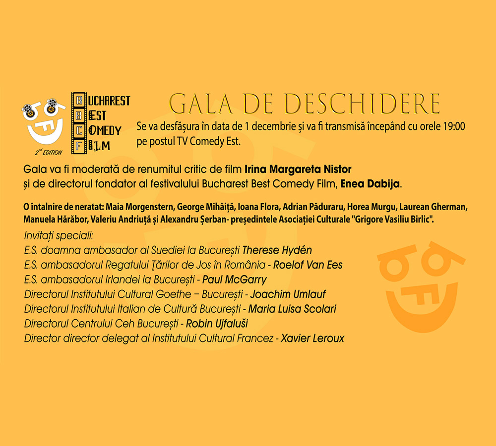 Bucharest Best Comedy Film Festival 2020 - gala de deschidere & program
