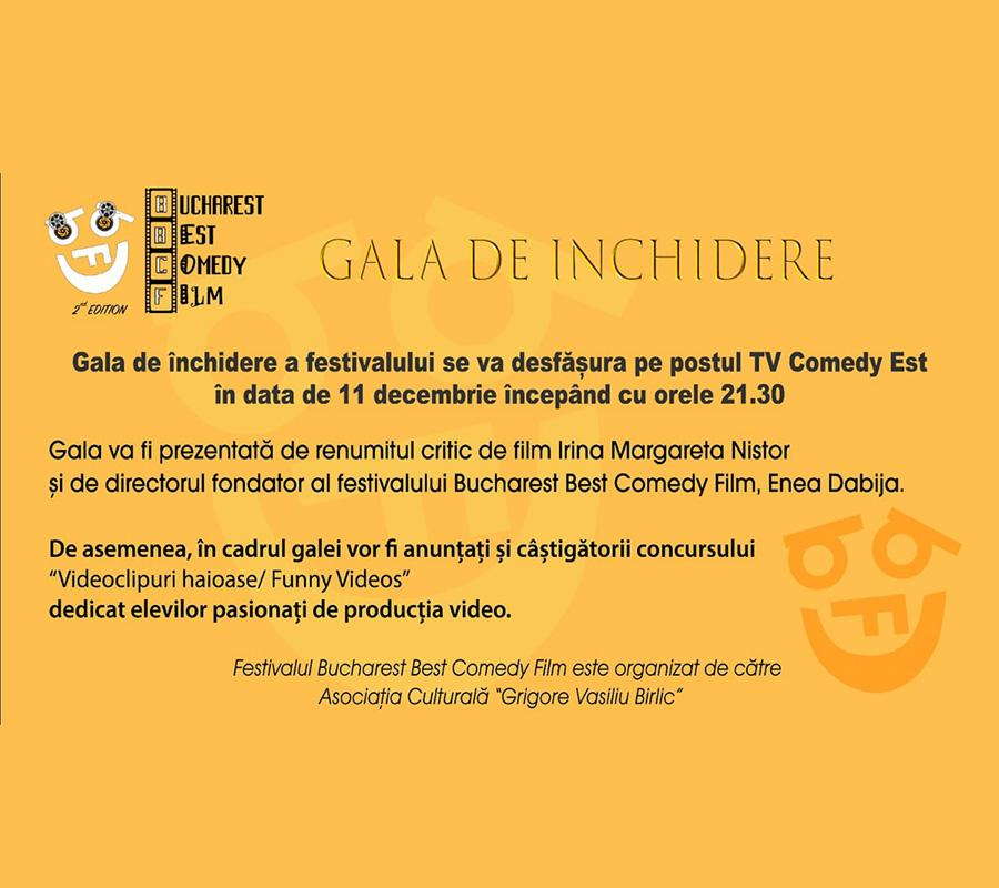 Bucharest Best Comedy Film Festival 2020 - Gala de închidere & difuzare film câştigător