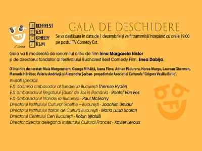 Bucharest Best Comedy Film Festival 2020 - gala de deschidere & program